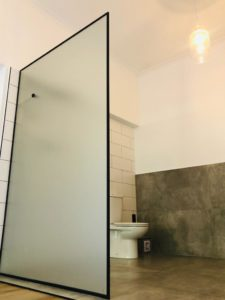 bathroom divider with toilet